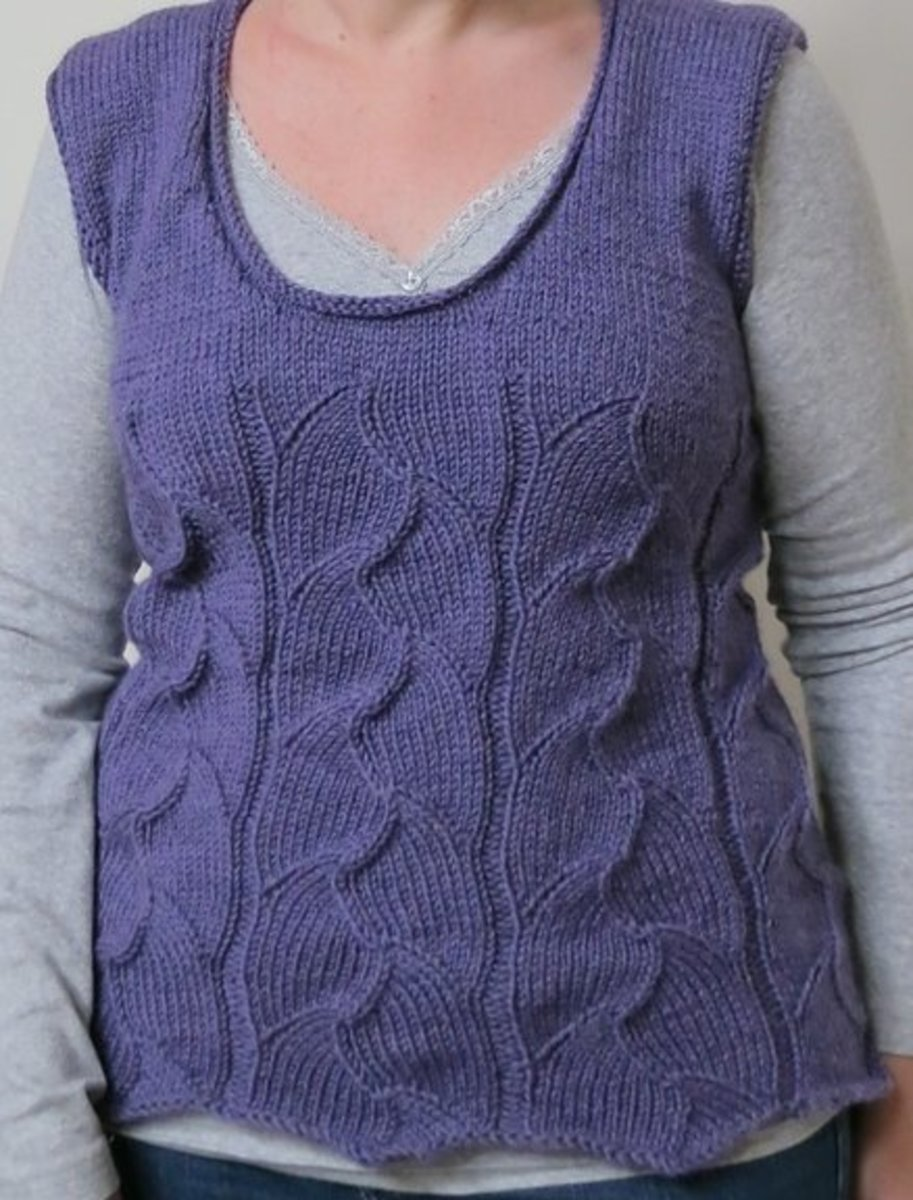 a finished, unblocked knitted vest