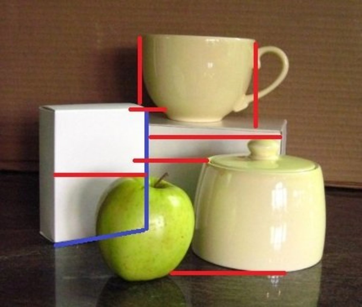 Check angles and lines and how high each object is compared with the others. Look at how edges and lines intersect each other.