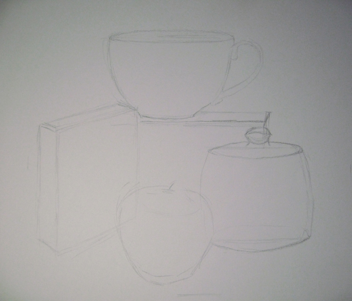 Still Life. Begin adding more shapes to create the illusion of roundness.