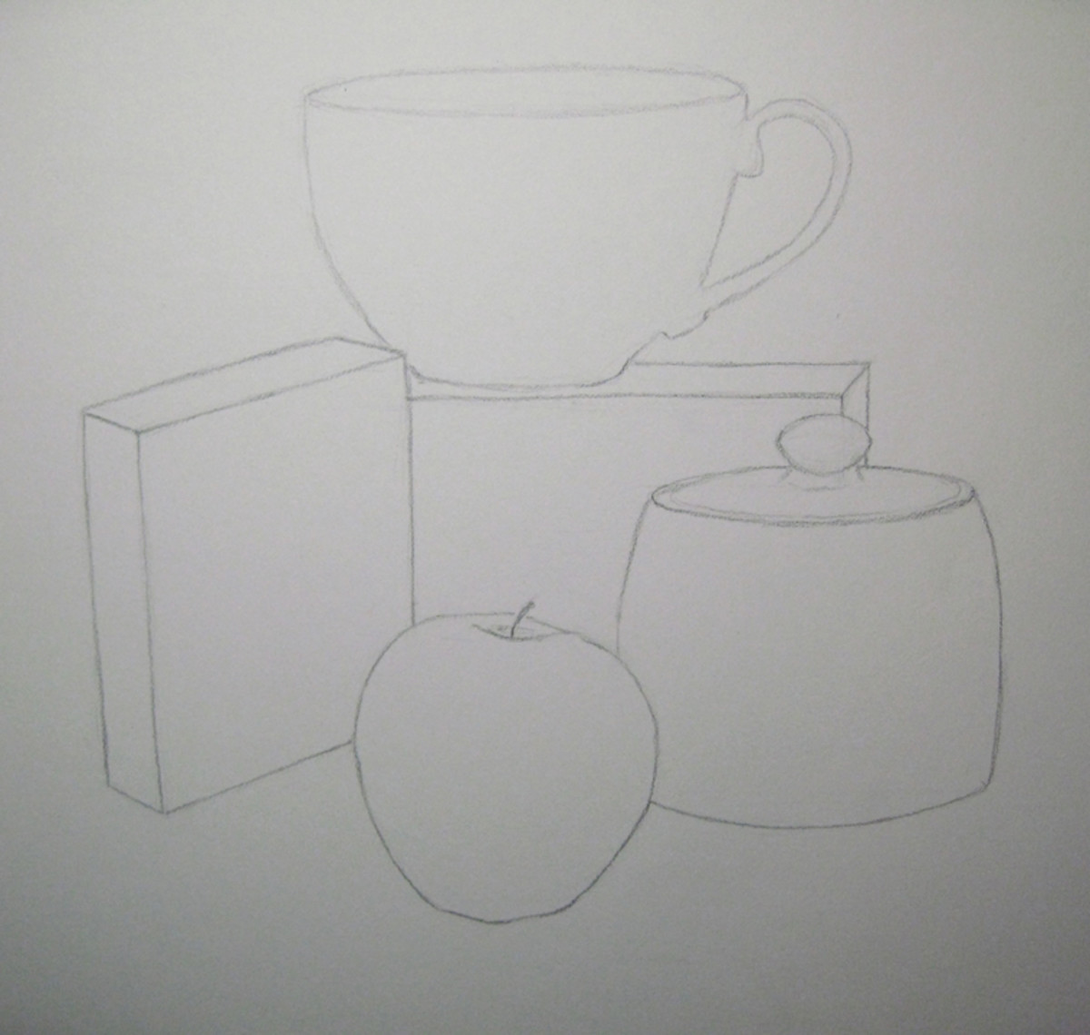 Still Life drawing of object outlines
