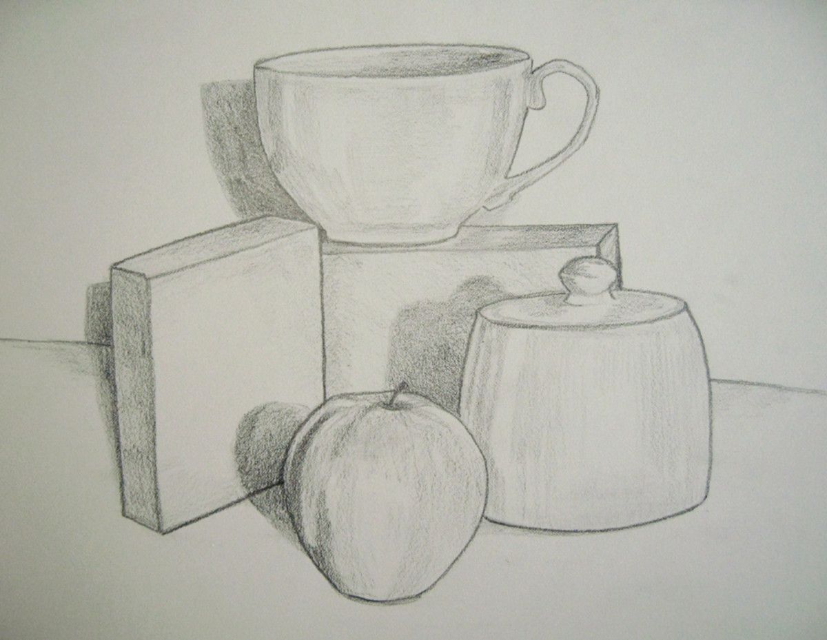 Still life drawing with shades and darker outlines