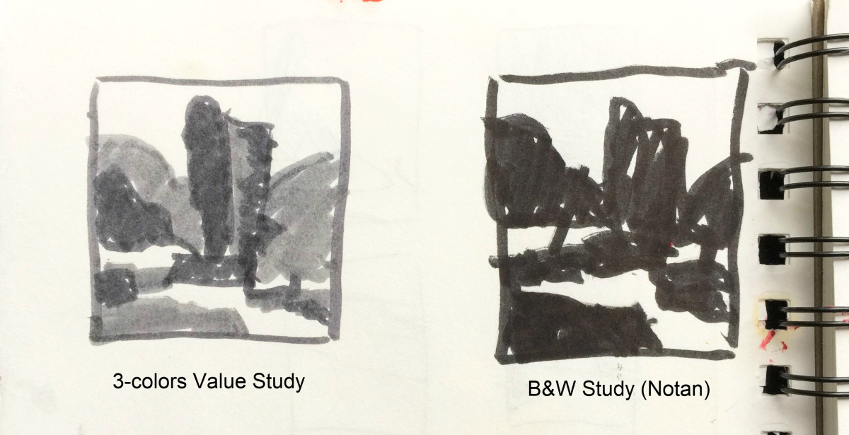 """Two studies that I did before starting the painting """"Hopes and Smiles"""" below. Planning the light and the dark shapes really helped me."""