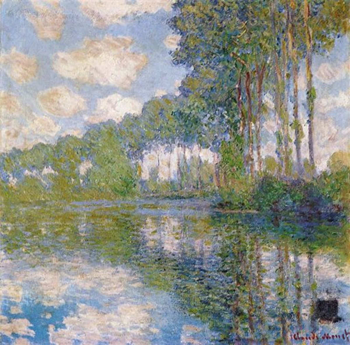 "Claude Monet excelled at painting light.  In ""Poplars at the Epte"" the blue of the sky is reflected and included throughout the painting resulting in a very pleasant and fresh color combination."