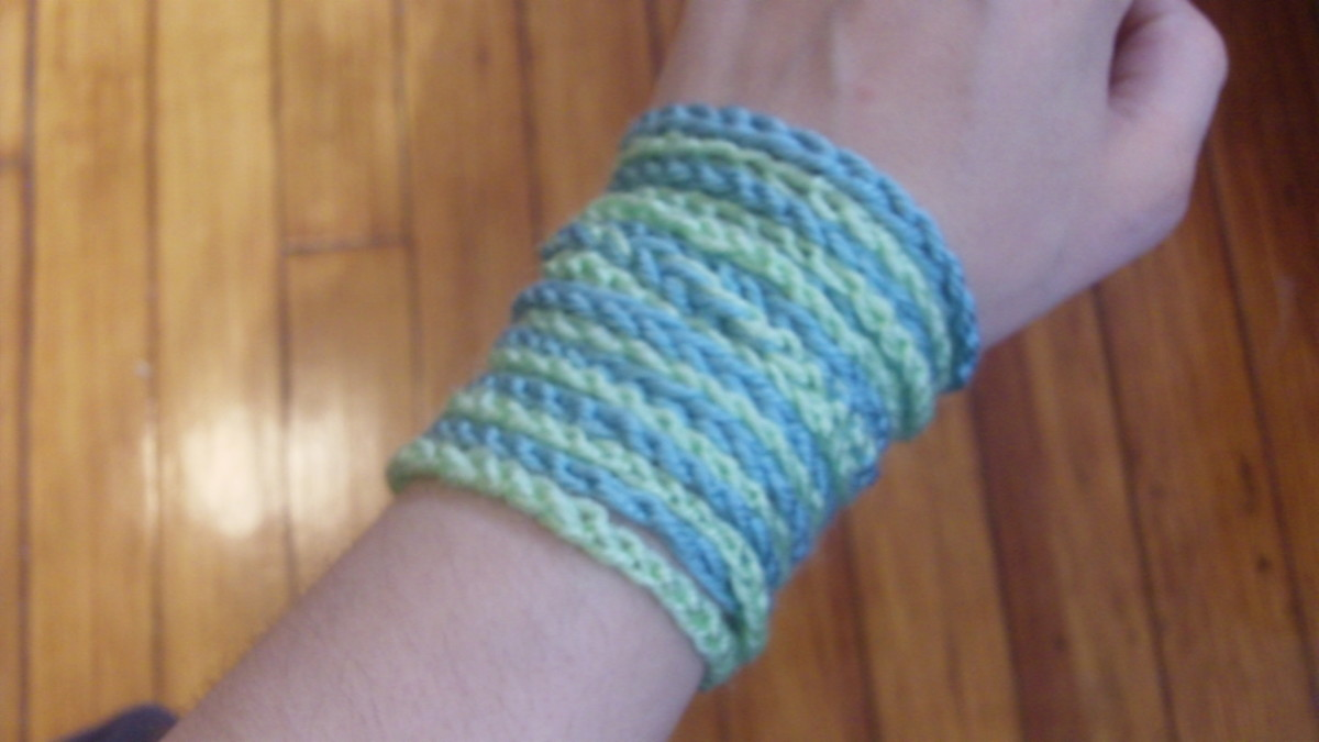 Crochet bracelet made with chain loops.