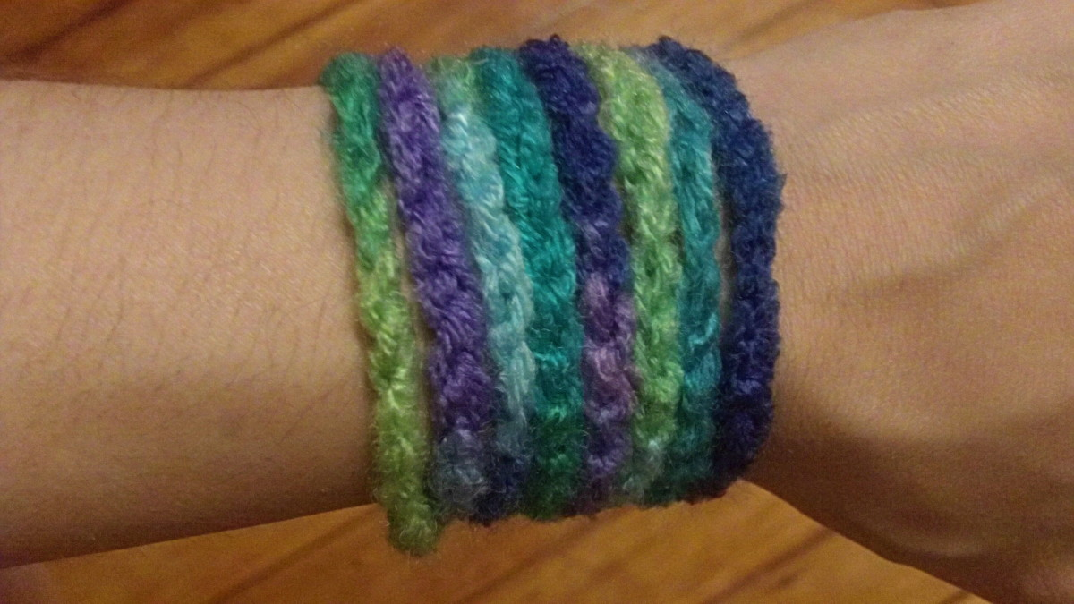 Chain stitch bracelet made with gradient yarn.