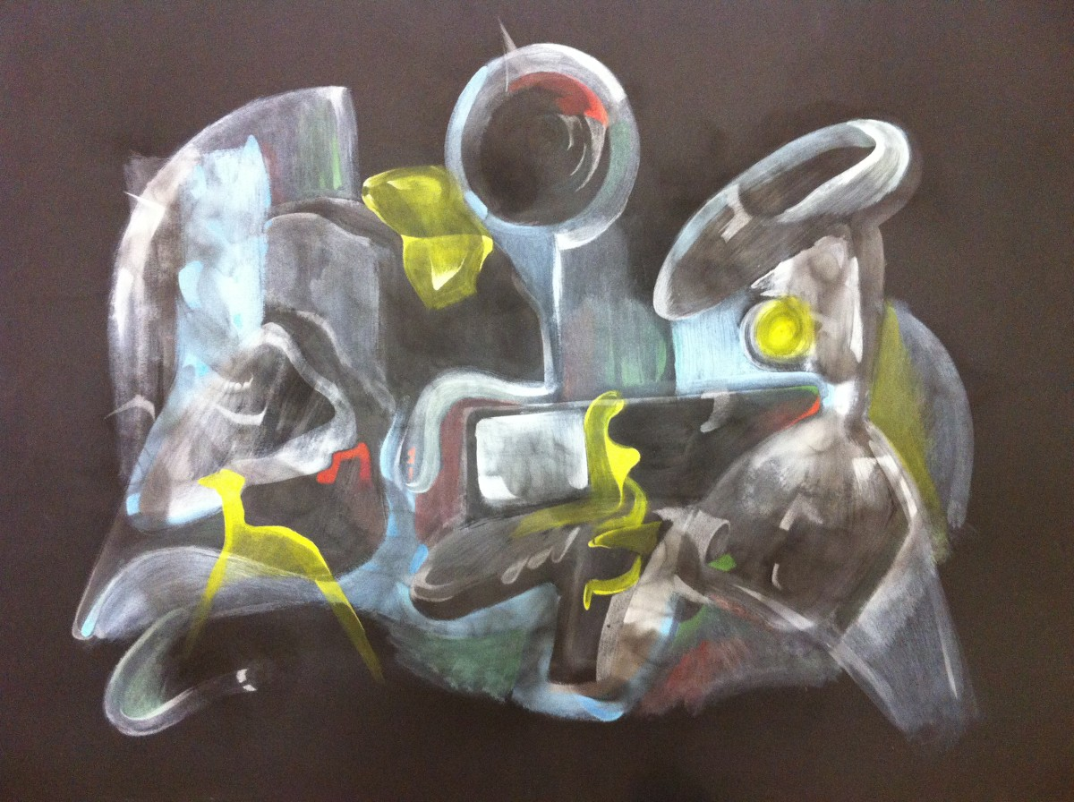 """Astros and Actual Time: Size: 22"""" x 30"""" (56cm x 76cm) Medium: Fumage, Gouache and Color Pencil on Paper"""