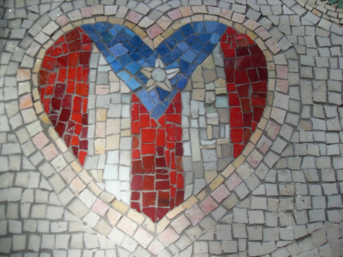 Mosaic of Puerto Rican Flag in Heart in Spanish Harlem (El Barrio), NYC