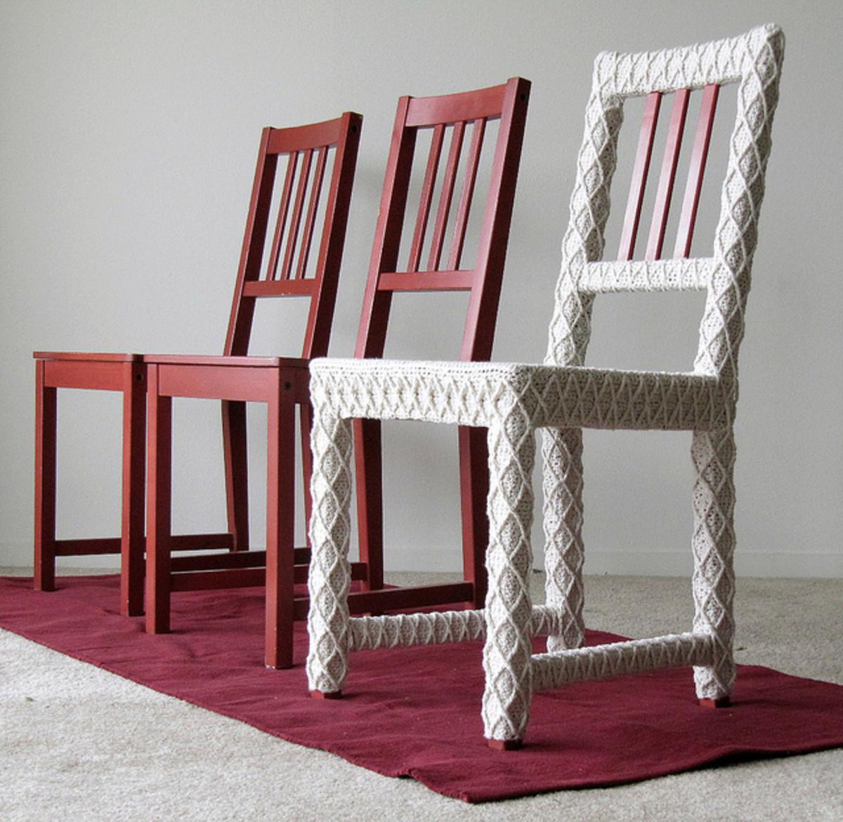 Yarnbombed dining chair