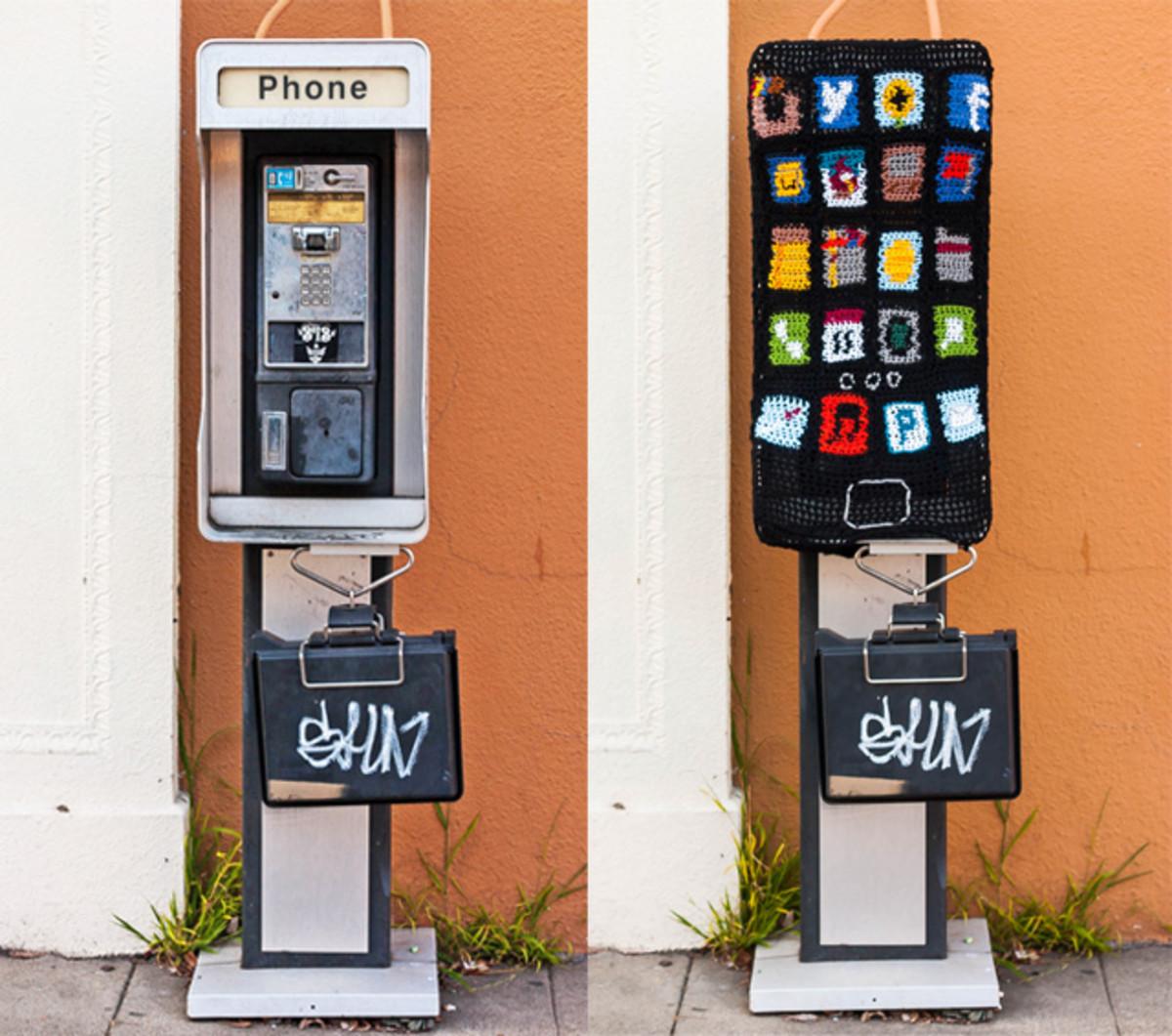 Yarnbombed phone booth