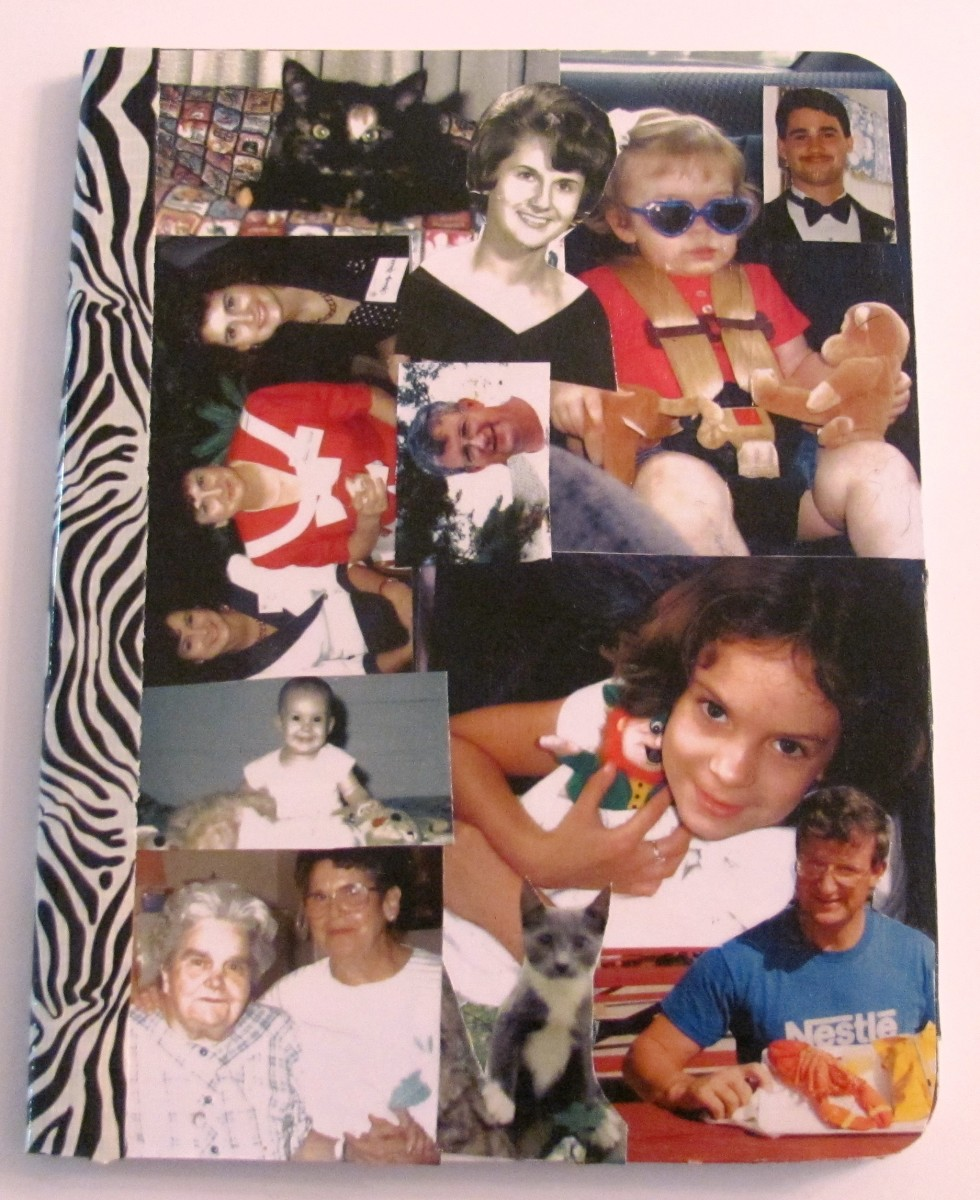 Give a plain composition book pizzazz by adding special family photos.