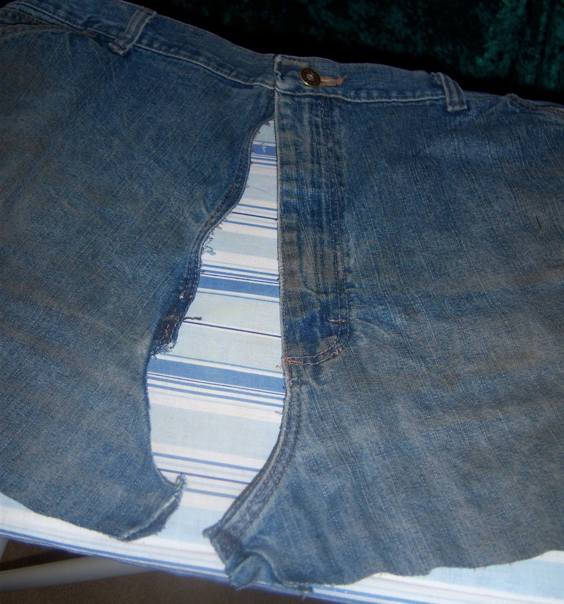The same view, but with the crotch separated and zipper removed.