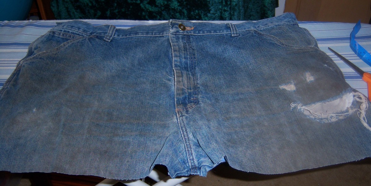 The front of the jeans with the crotch and zipper still intact.
