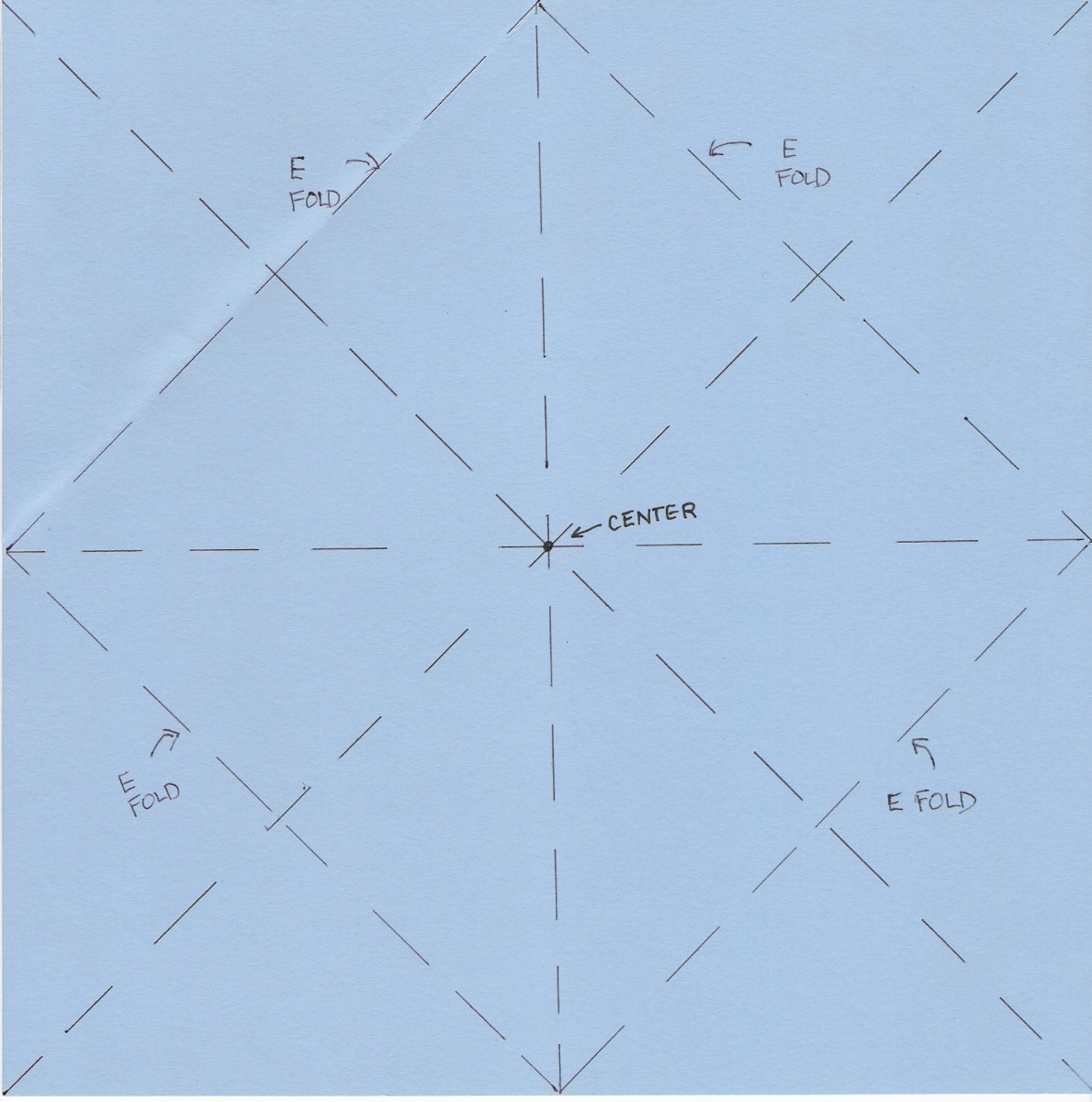 Fold corners to center point, along lines marked E.