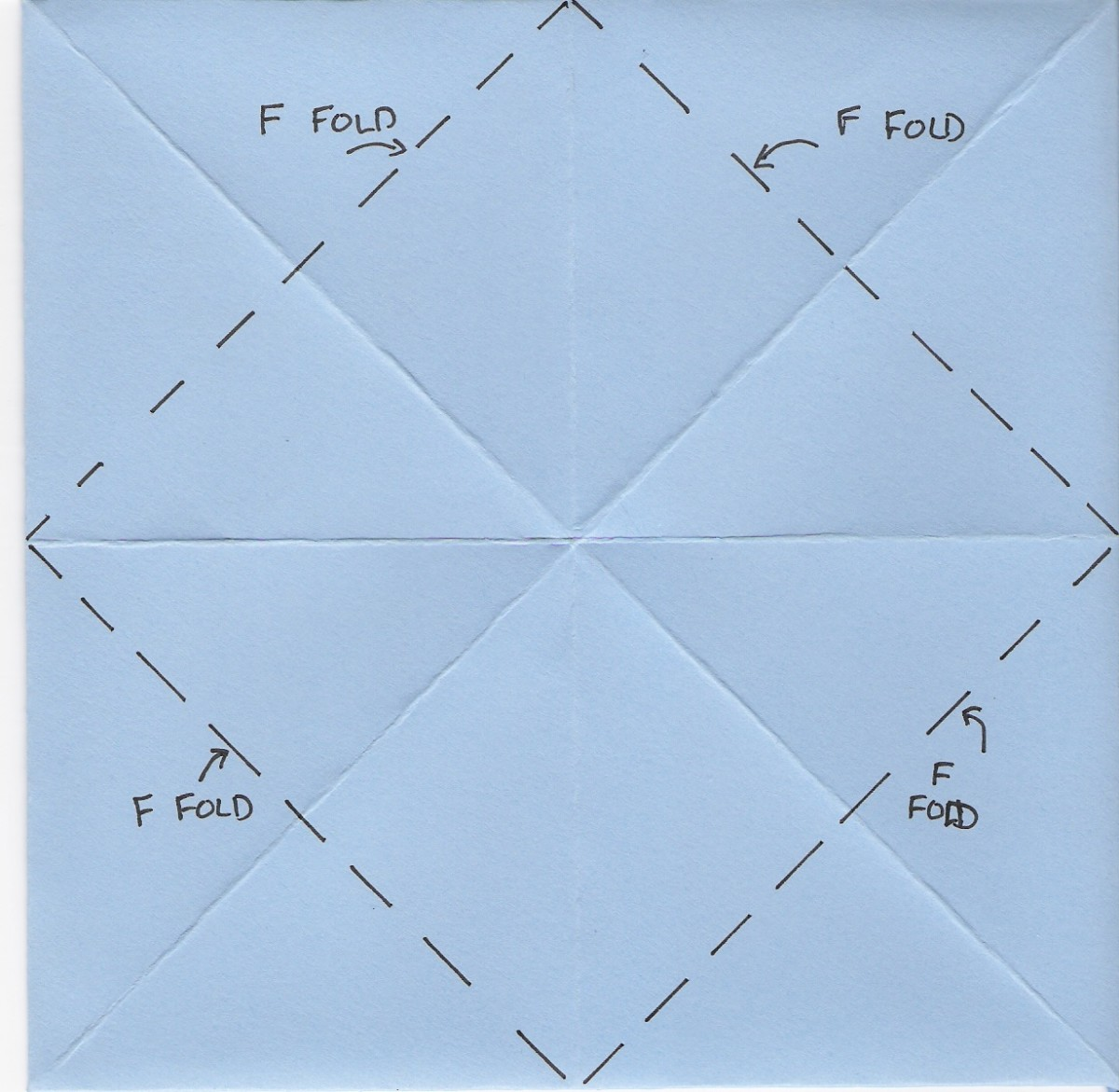 Flip paper over to back, fold in corners to center
