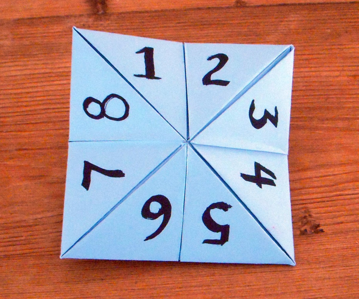 Each folded corner has two triangles. Write numbers 1-8 onto the triangles.