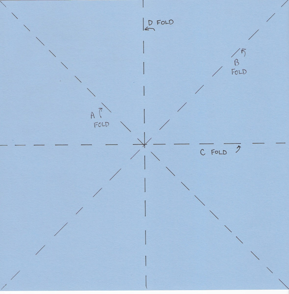 Fold paper in half , unfold along C line. Then turn the paper a quarter turn and fold and unfold again along D line.