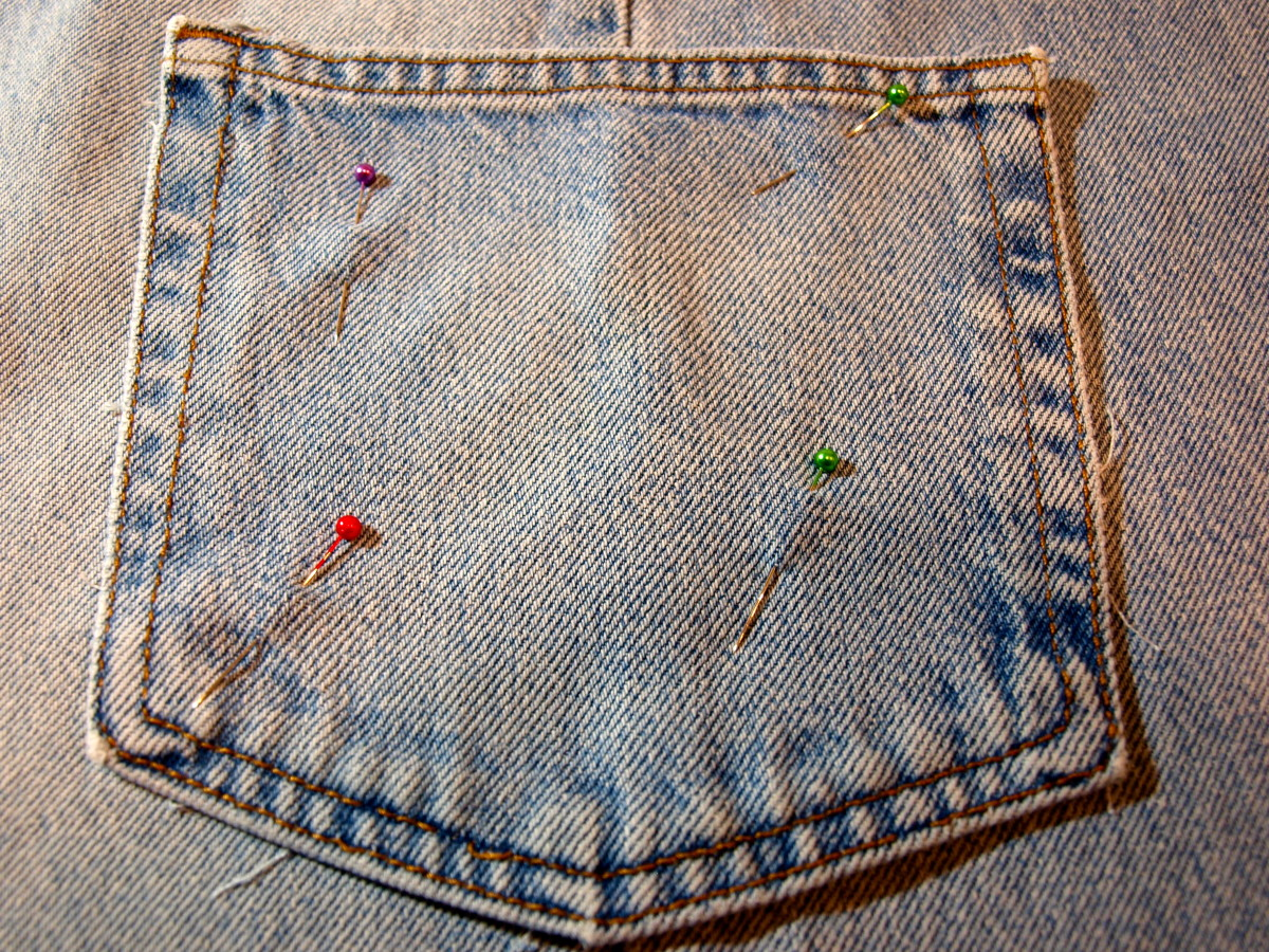 Pin the pocket on and sew.