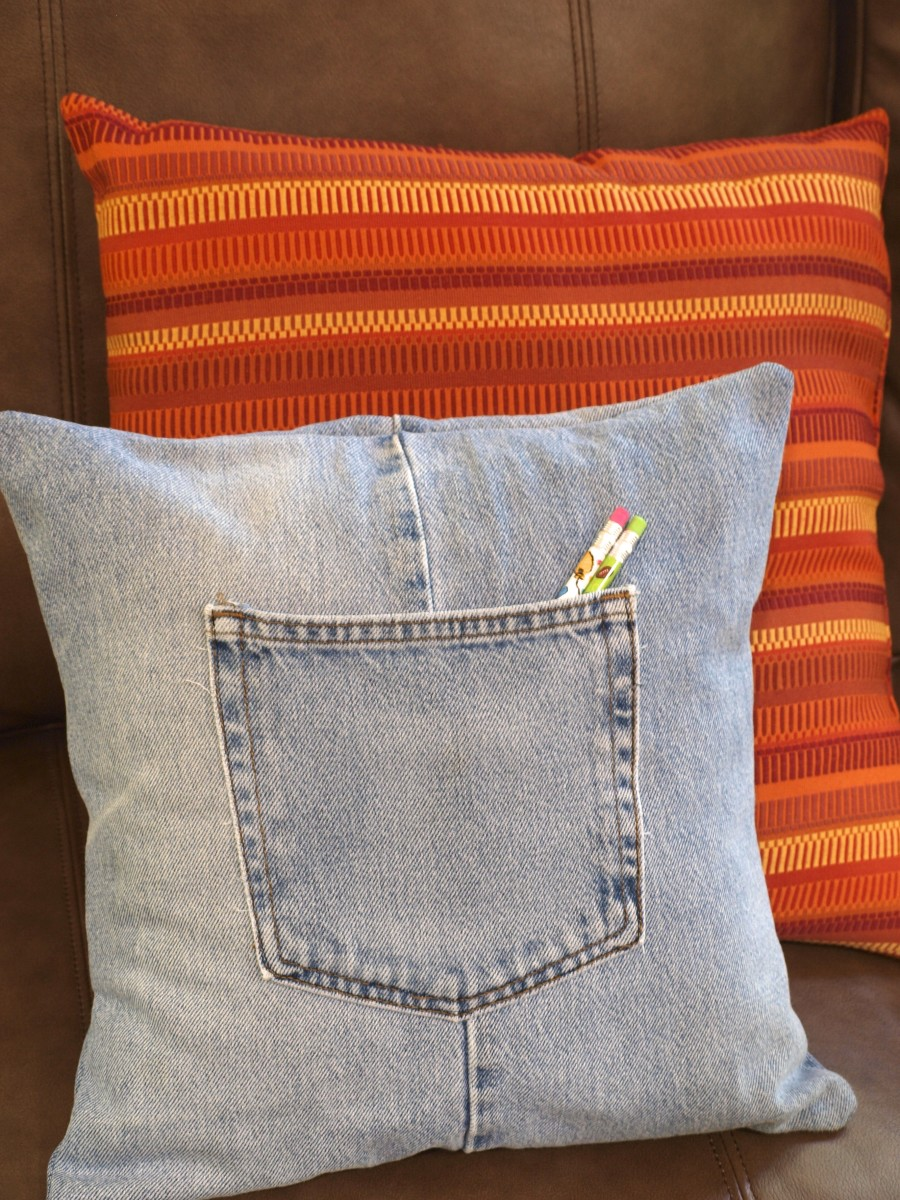 It looks great on a couch or in a teen's bedroom—I love my upcycled jeans throw pillow!