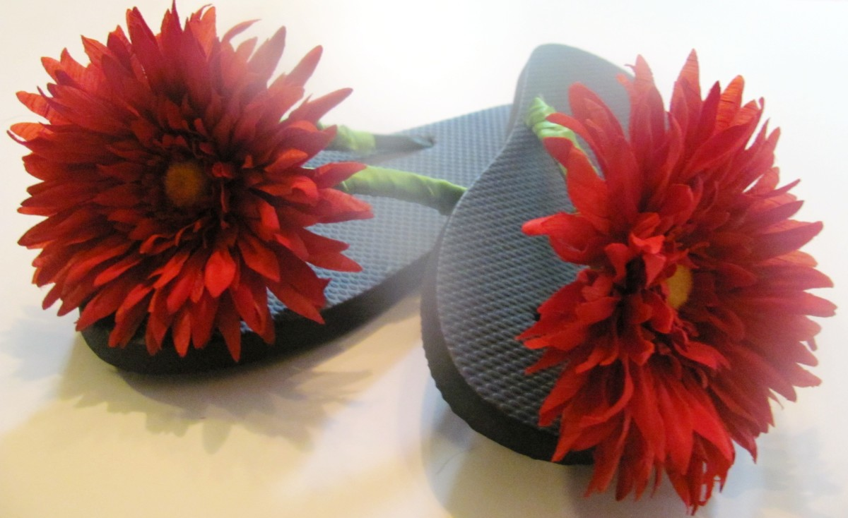 You may wish to go with smaller flowers if you are blessed with fancy feet.  The good thing about making your own shoes is you get to customize them!