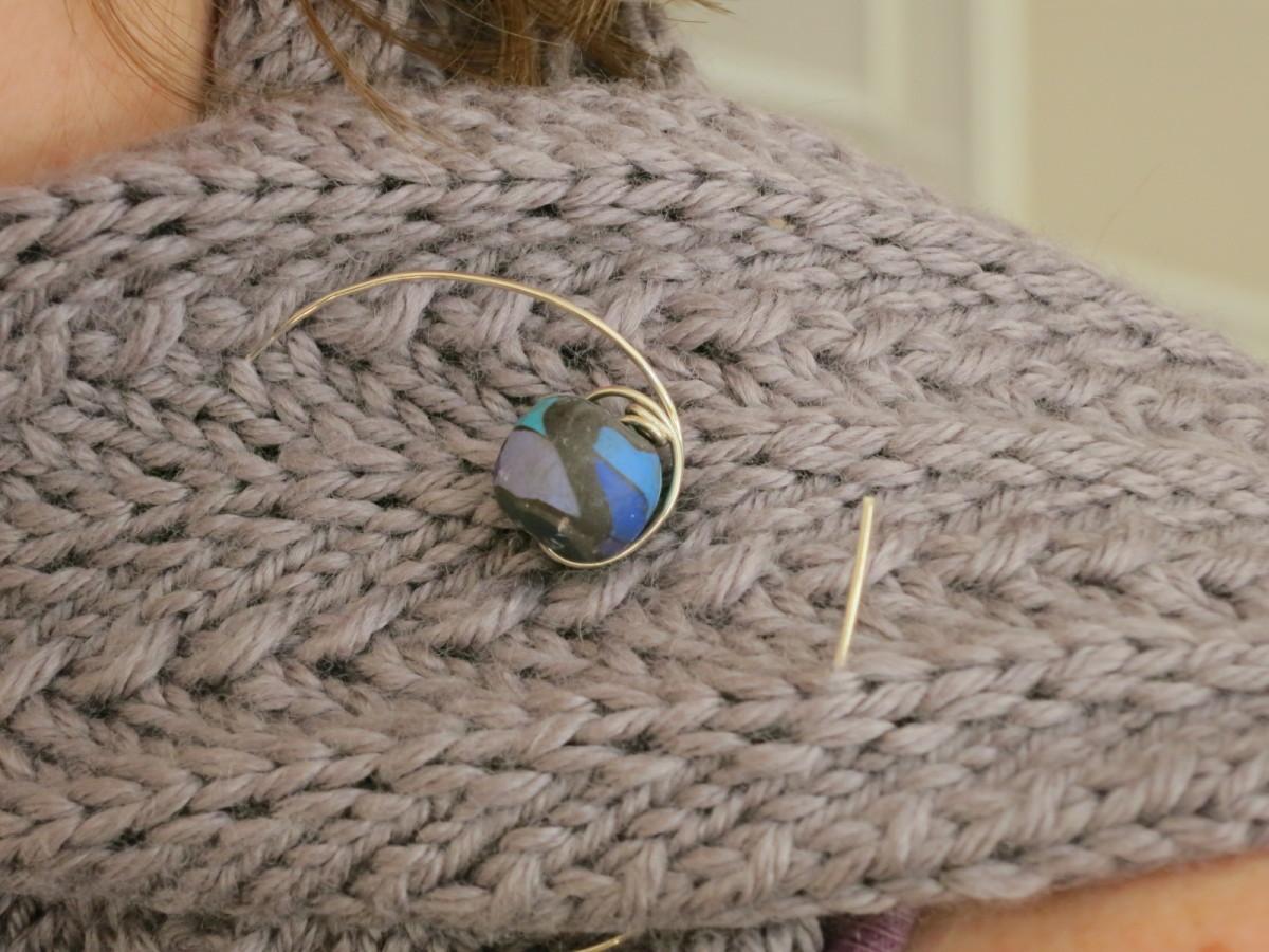 Handmade wire and bead shawl pin