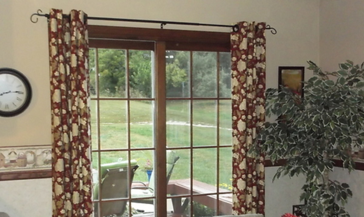 This is a photo of my Patio Curtain with grommets, open