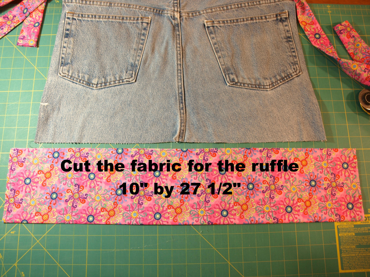 For the ruffle, cut a piece of fabric to the measurements noted.  This makes a subtle ruffle.  Cut the fabric longer and the ruffle will be fuller.