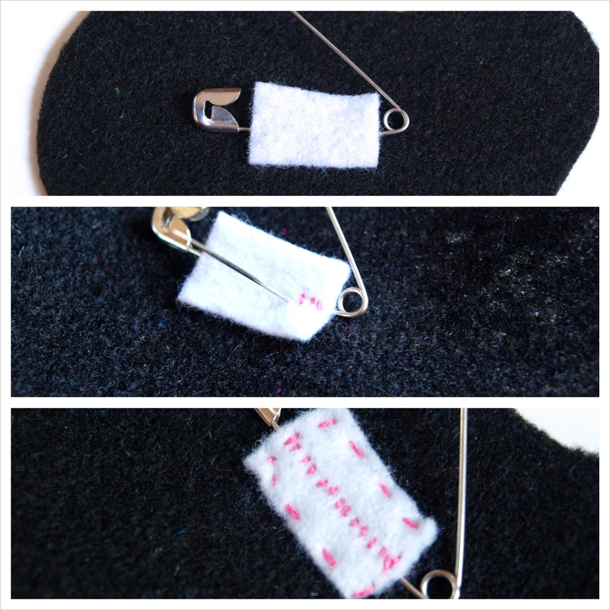 Secure the safety pin to the back of the brooch.