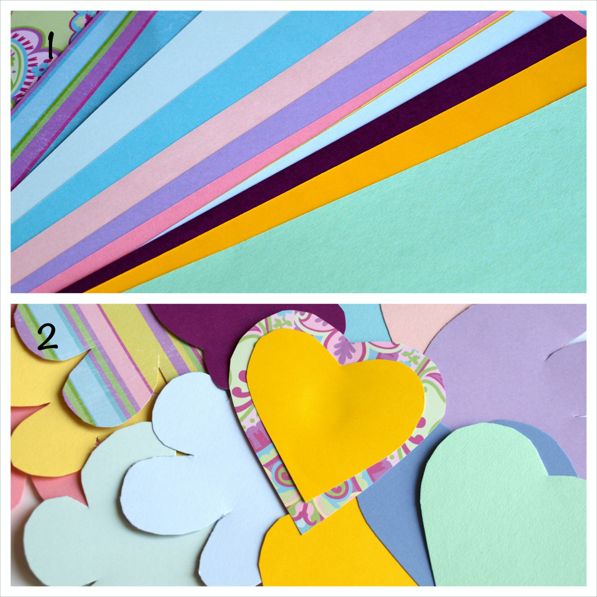 Using card stock or scrapbook paper, cut out shapes.