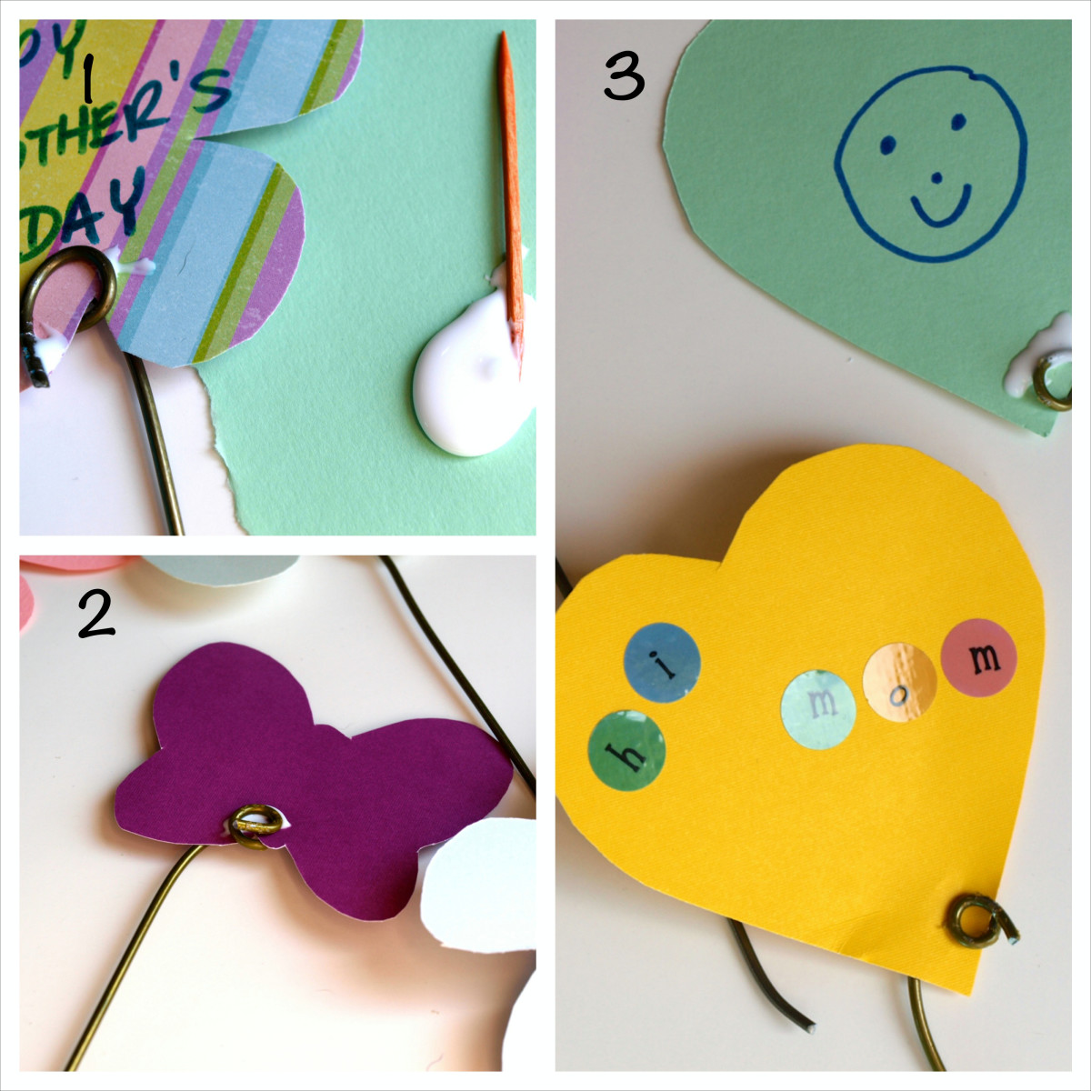 Some of the holders will not hold the paper shapes well, so the shapes will need to be glued.