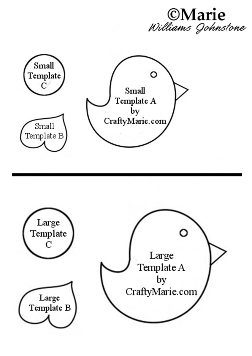 Whimsical Bird Template for Paper and Felt Craft Projects