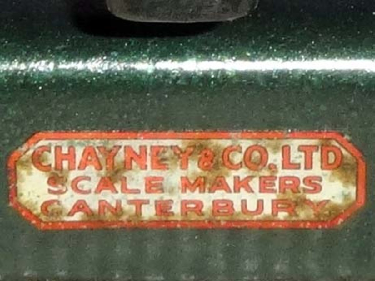Manufacturers Label on side of scales (Chayney & Co Ltd, Scale Makers, Canterbury).
