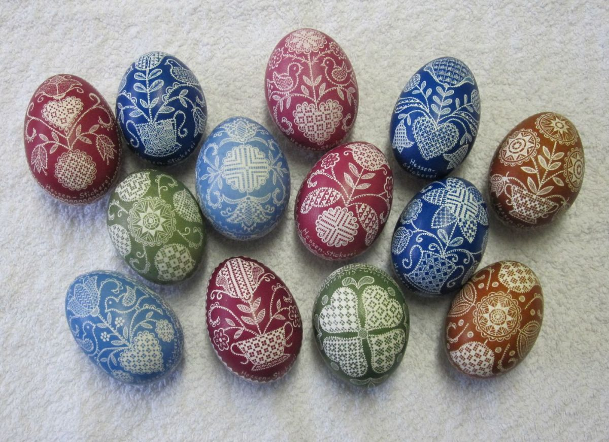 The wax method can be used for almost everything. Here's a typical German Easter decoration—first waxed, then colored (usually empty) eggs.