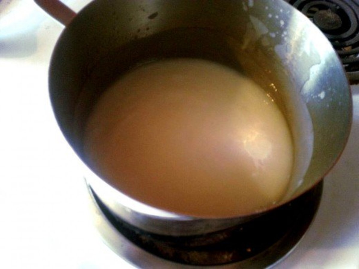 This soap has reached trace. It is about the consistency of thin cake batter. Fragrance and color can now be added, and the soap will be ready to pour.