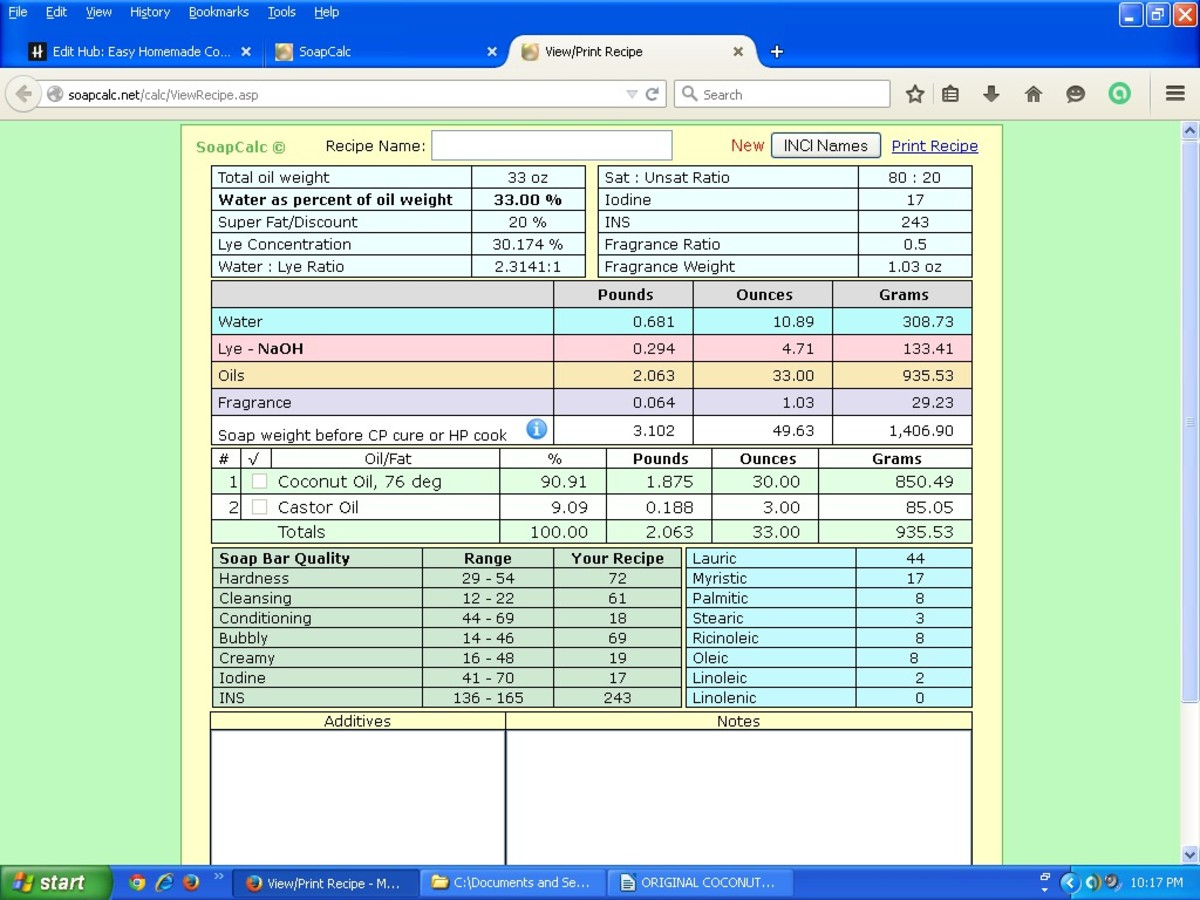 This is a screenshot of the above recipe from SoapCalc, a popular online lye calculator.