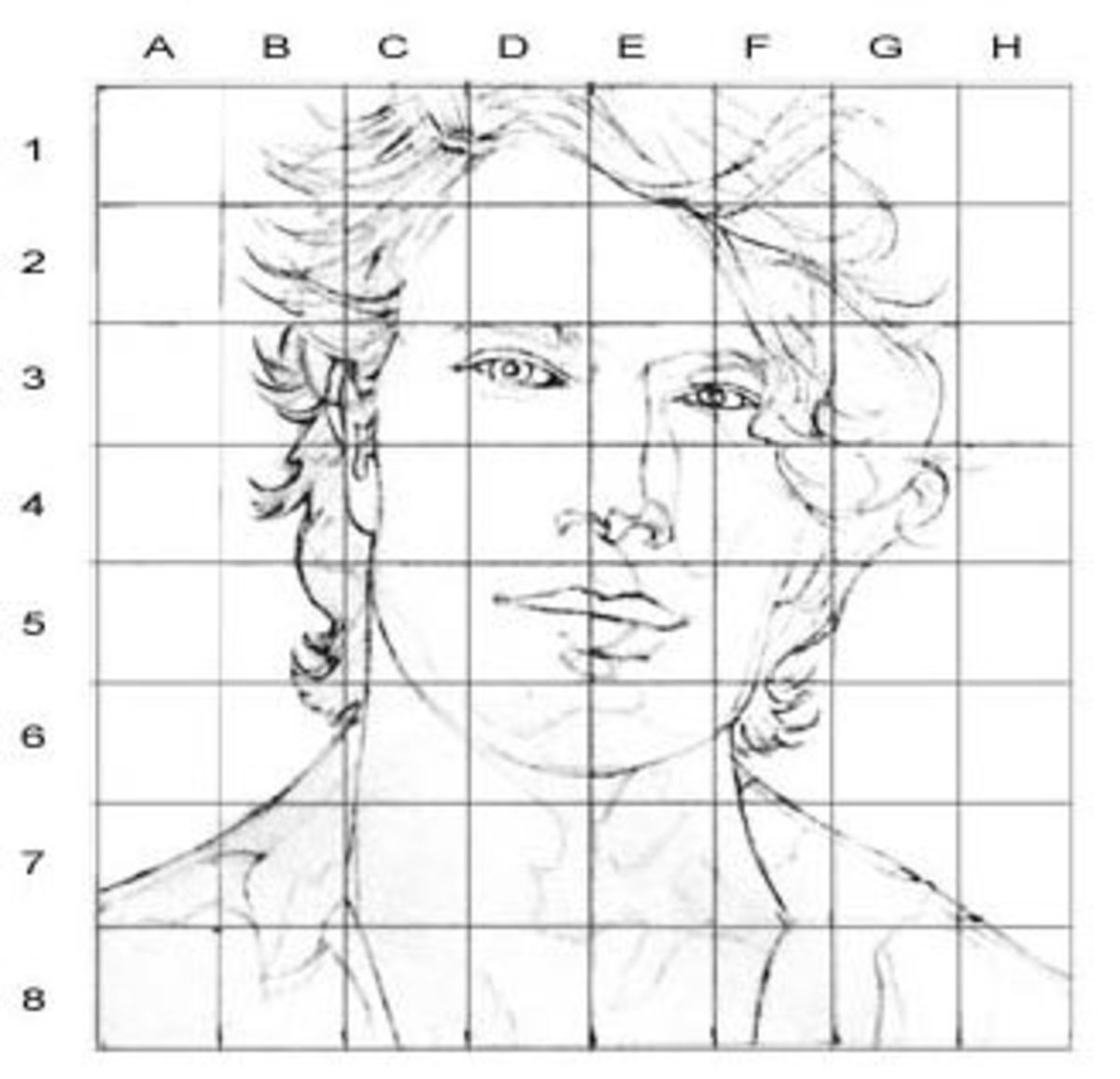 how to draw on a grid chuck close