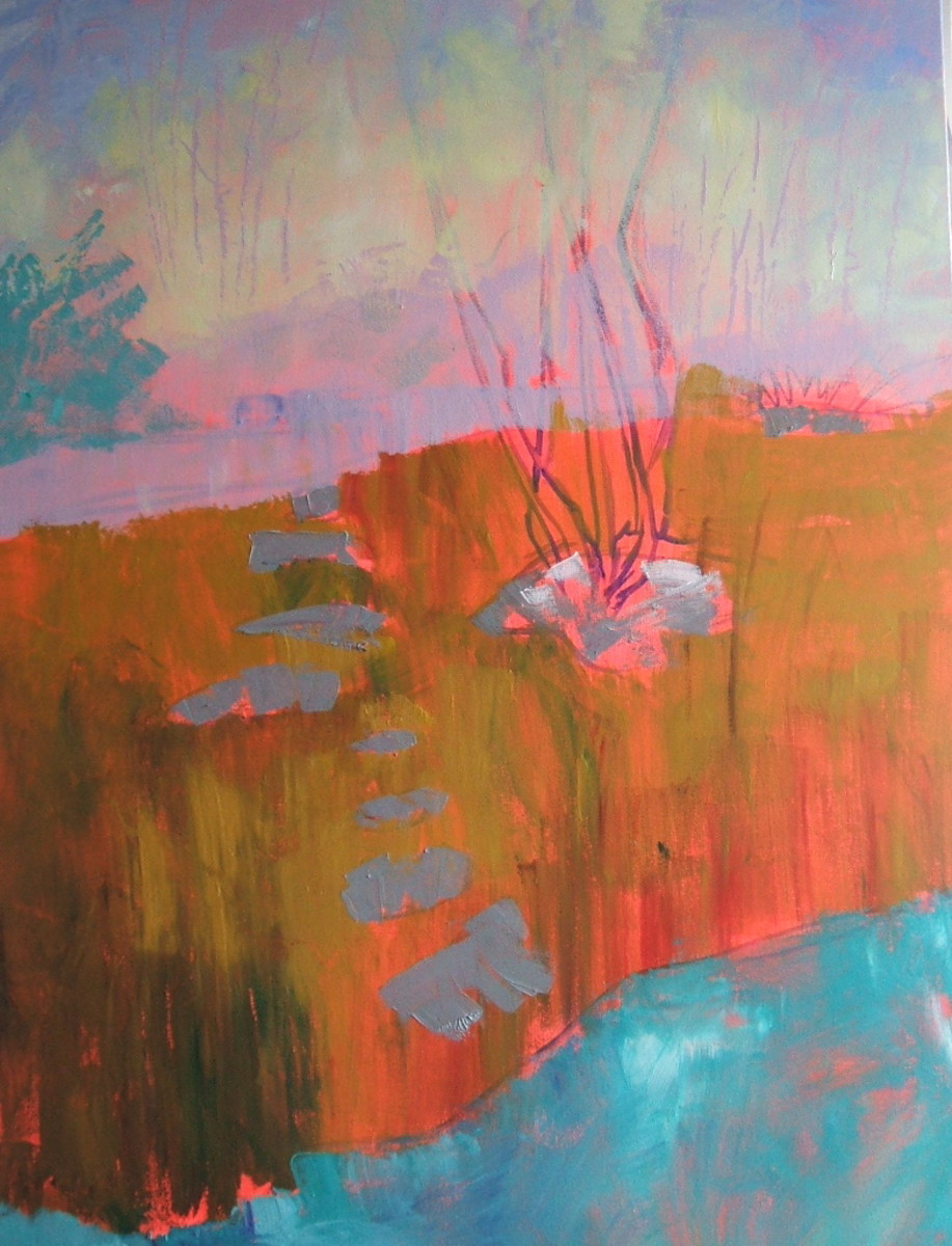 Step two is painting in the background of this semi-abstract acrylic landscape.