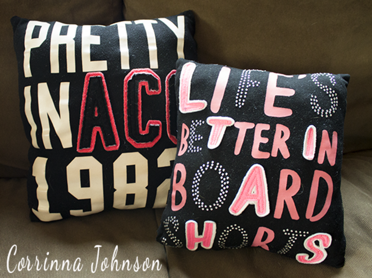 DIY Pretty In ACO 1982 And Life's Better In Board ShortsT-Shirt Pillows