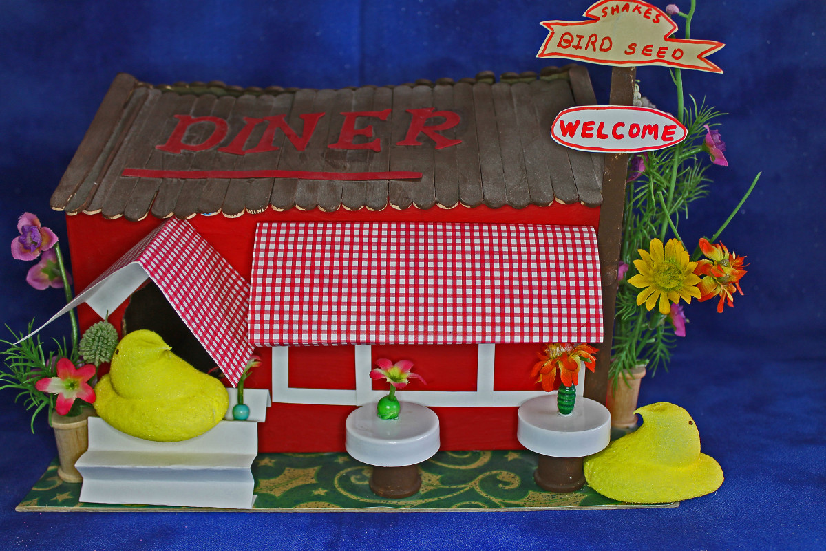 Peeps Diner  --We used spools, beads, bottle caps, and small silk flowers for the props in the diorama.