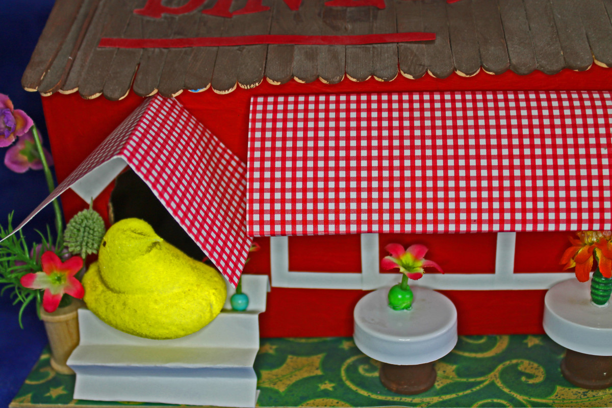 Use found objects--like spools, bottle caps, and beads to decorate your Peeps diorama set.