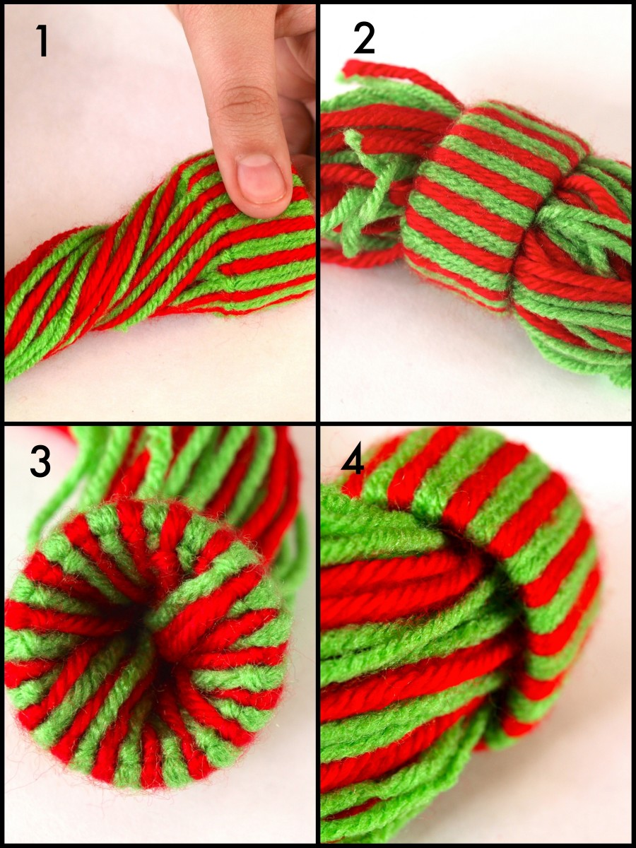 Feed the yarn through the center of the roll.