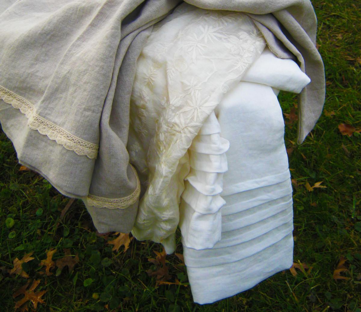 Home made linen pillow cases