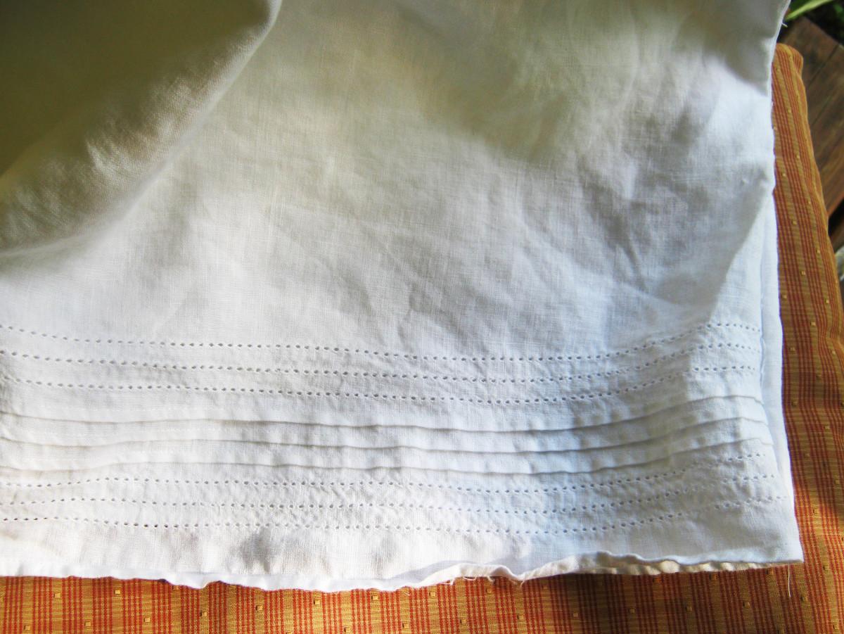 Linen pillow case made out of a skirt - the hem makes a pretty edging