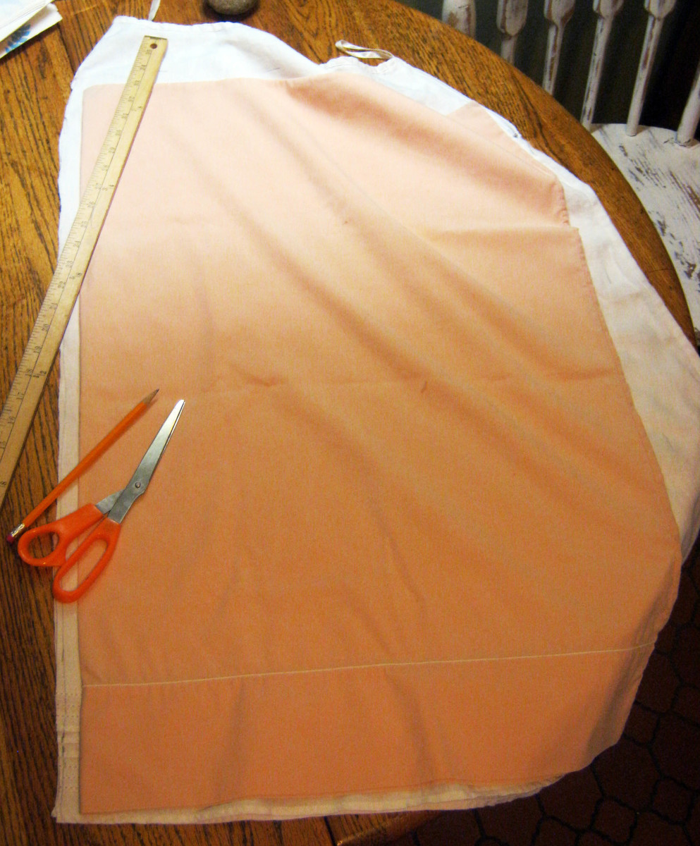 Use an old pillowcase as a pattern or template for cutting the skirt to the right size.