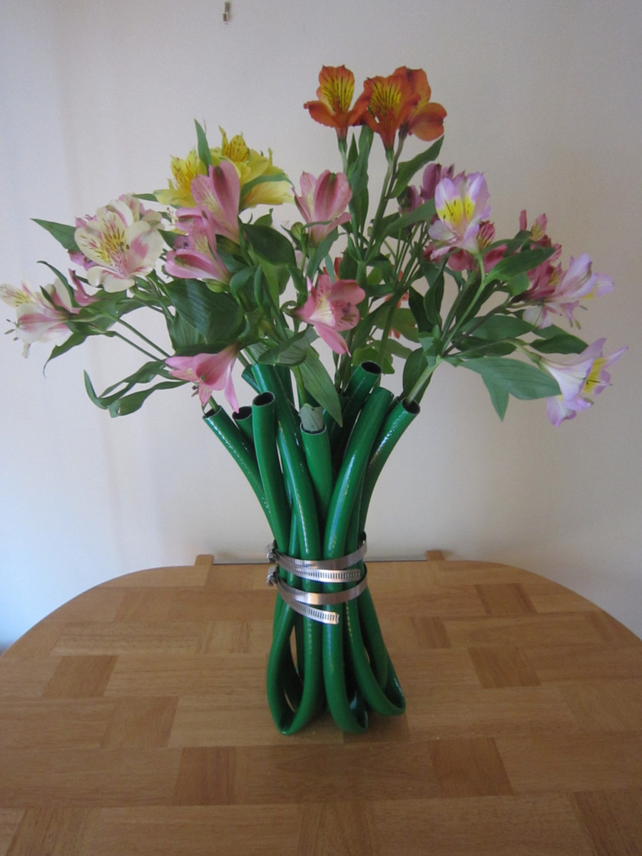 A flower vase made of garden hose and a thin metal strip.