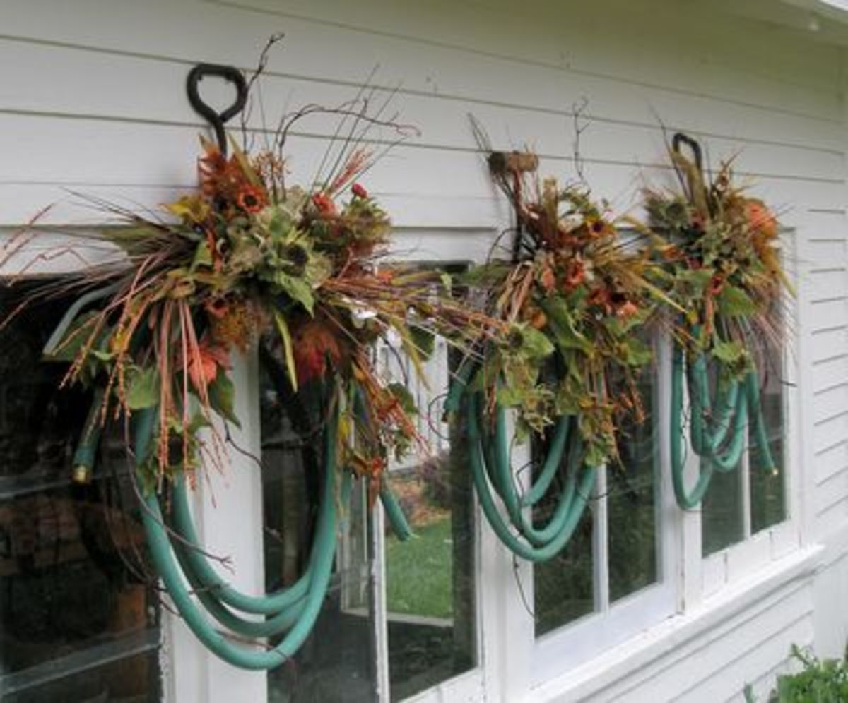 Three hose wreaths decorated for fall. You can customize your hose wreath for any season, holiday, or other occasion.