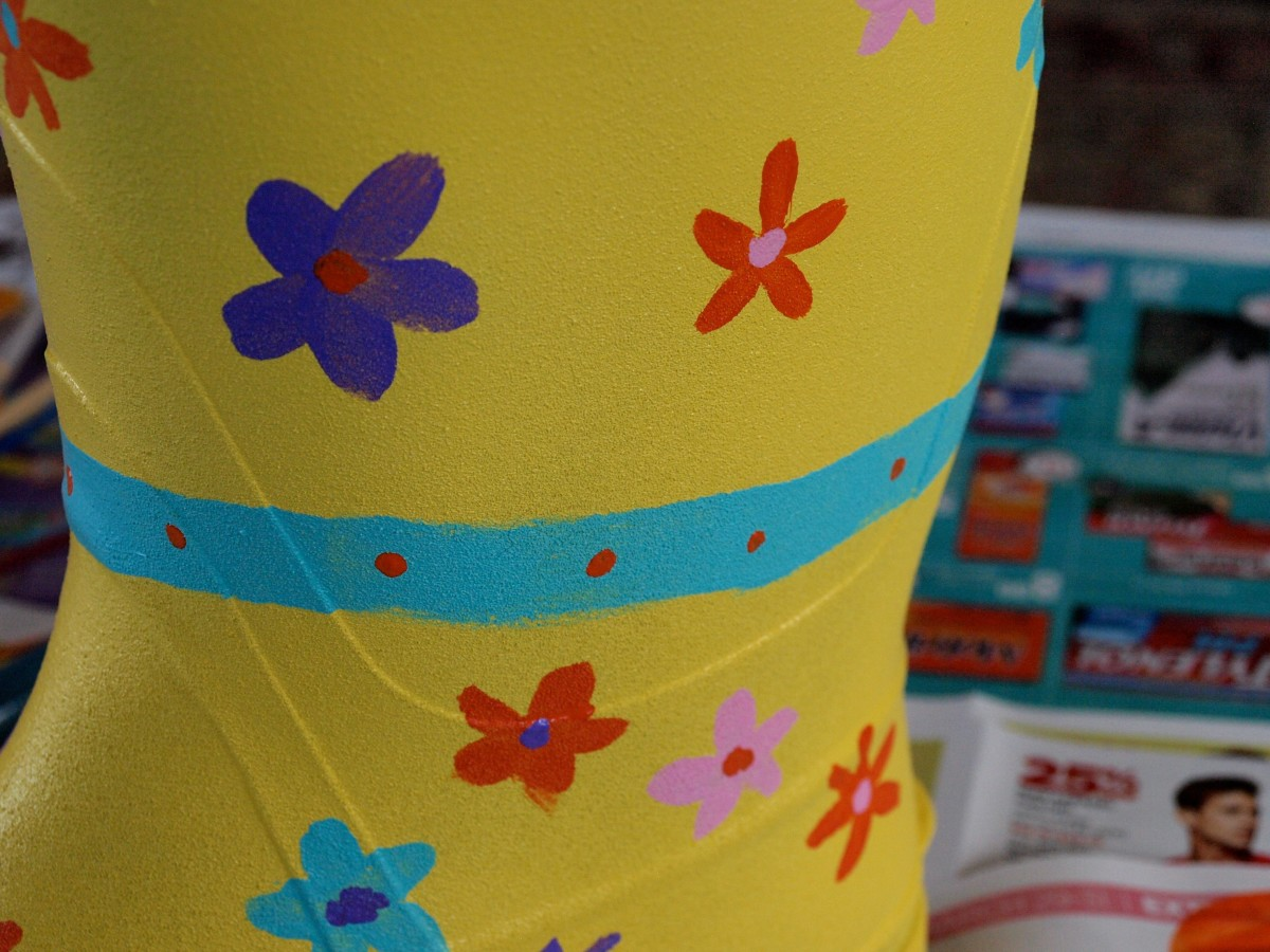 Paint whatever design you'd like.  I'm not a painter, but had loads of fun painting flowers and polka dots on my boot!