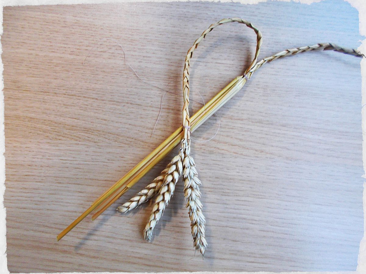Bend the one plait across the straight stalks to make a half heart, then tie to secure in place.