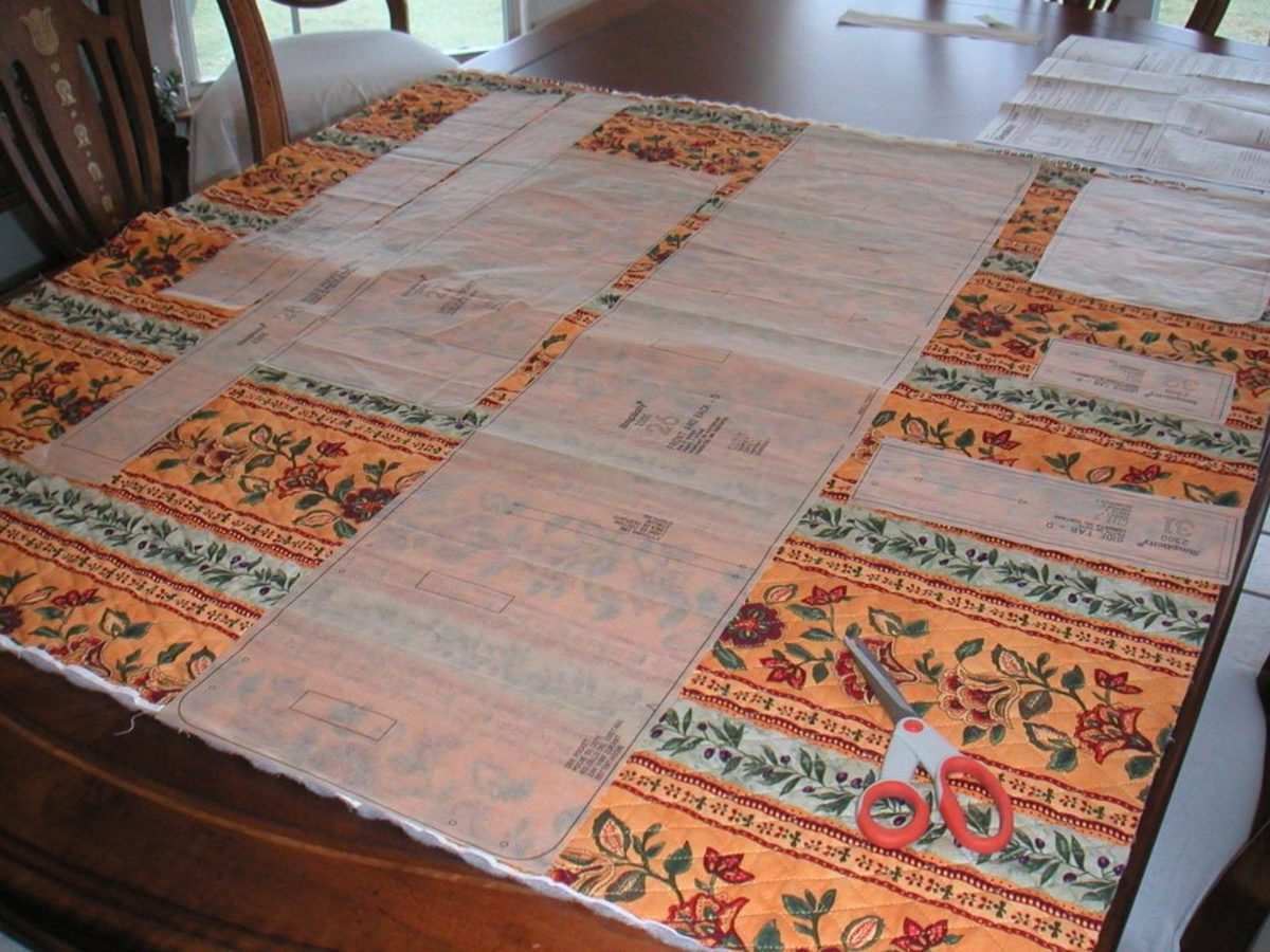 The first part is to lay out the pattern on the fabric and cut it out.