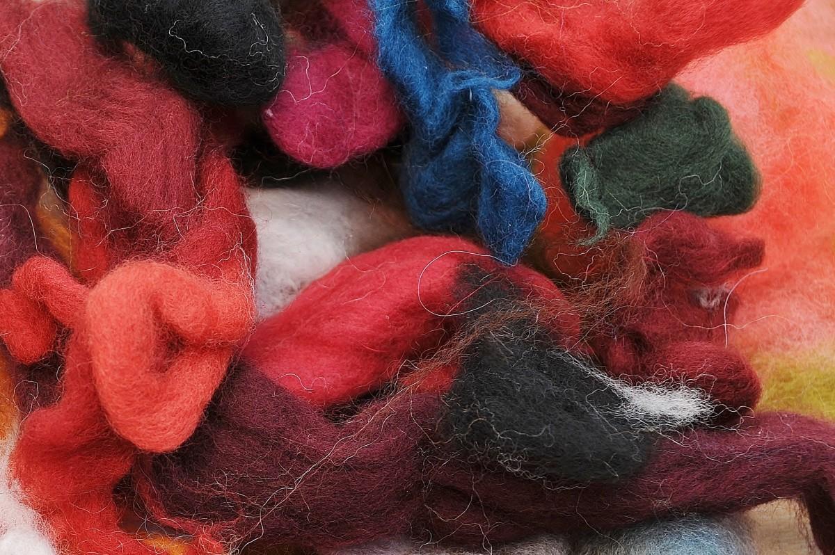 A quantity merino wool waste wool fibres