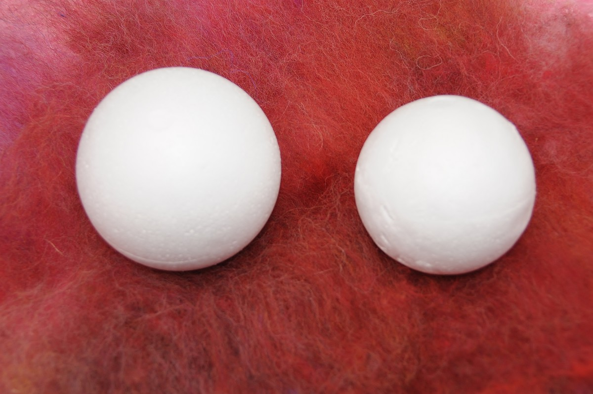 Two Polystyrene Balls.  This images give one an idea of the amount of shrinkage which is likely to take place.